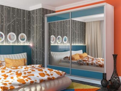 Шкаф-купе Юлия с 2-мя зеркалами МДФ белый-синий