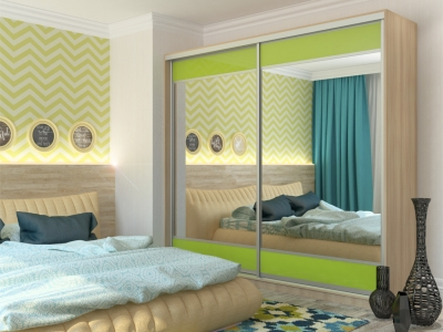 Шкаф-купе Юлия с 2-мя зеркалами МДФ шимо светлый-зеленый