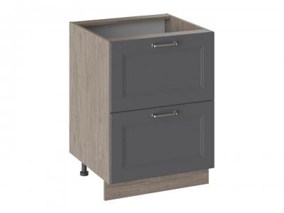 Шкаф напольный с 2 ящиками Н2Я_72-60_2Я Одри Серый шелк