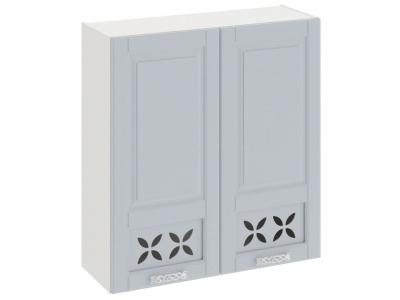 Шкаф навесной c декором В_96-90_2ДРД Скай Голубая