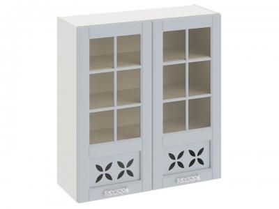 Шкаф навесной cо стеклом и декором В_96-90_2ДРДс Скай Голубая