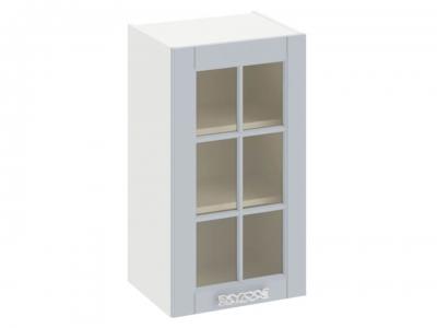 Шкаф навесной cо стеклом В_72-40_1ДРс Скай Голубая