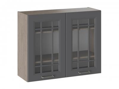 Шкаф навесной со стеклом В_72-90_2ДРс Одри Серый шелк