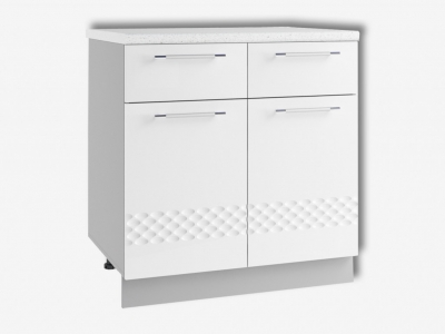 Шкаф нижний 800мм с 2мя ящ и 2мя дв С2Я 850х800мм МДФ белый Капля
