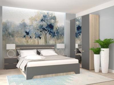 Спальный гарнитур с 3-х створчатым шкафом Анталия Сонома-Графит софт
