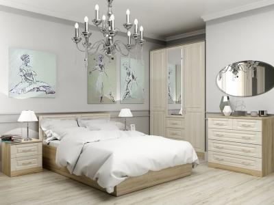 Спальня Лаура с кроватью 140 Дуб сонома - Лён жемчужный
