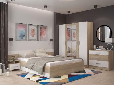 Спальня Леси Сонома-Белый с четырехстворчатым шкафом