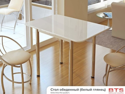 Стол обеденный с принтом белый глянец
