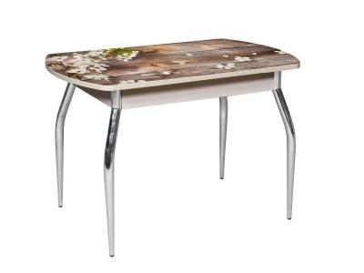 Стол раздвижной со стеклом Грация Ветка вишни-Беленный дуб