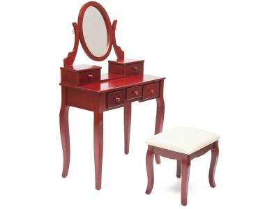 Туалетный столик с пуфом Ny-v3023 ткань Бежевая (ntv-04) + Вишня