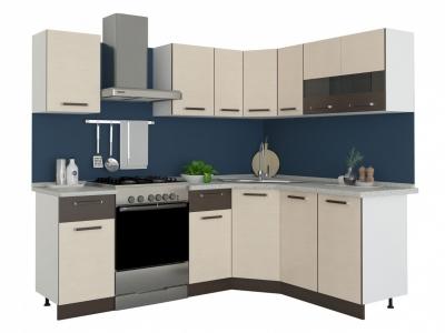 Угловая кухня Модена 1,65х1,65 дуб молочный/венге цаво