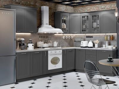 Угловая кухня Одри Серый шелк