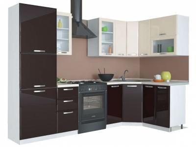 Угловая кухня Равенна Лофт 2,25х1,45 ваниль глянец/шоколад