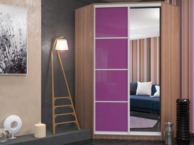 Угловой шкаф-купе Елена МДФ шимо темный-фиолетовый