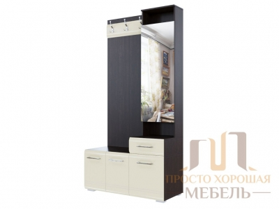 Вешалка с зеркалом 1966 (1,0м) СВ No 1 Дуб венге/Жемчуг